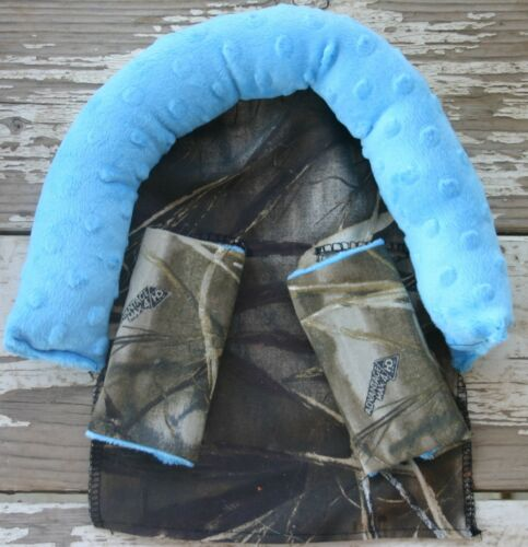 infant headsupport and straps Realtree Max 4 and teal minky