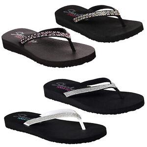Details about Skechers Womens Meditation Yoga Foam Toe Post Flip Flops Ladies Summer Sandals