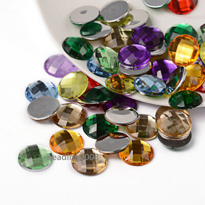 Round 14mm Various Colours Faceted 20 x Acrylic Flatback Rhinestones
