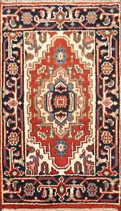 Traditional-Geometric-Indo-Heriz-Oriental-Area-Rug-Hand-knotted-Wool-Carpet-2x3