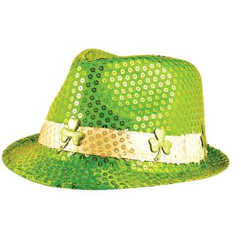 Unisexe Trilby Fedora Sequin Gangster Chapeau Adultes Fancy Han Stag Dress Party Cap