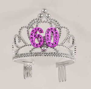 Image Is Loading 60th Birthday Party Plastic Silver Pink Tiara FREE