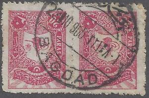 "IRAQ-TURKEY 1905 ""BAGDAD"" SUPERB CANCEL ON PAIR 20 PARAS C&W #9"