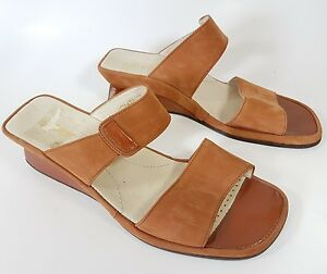 c2033bb3c33d Image is loading Rohde-orange-leather-low-wedge-sandals-uk-7