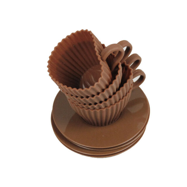 4x Silicone Cupcake Cups Cake Mould Chocolate Tea Cup Saucers Baking Muffin Mold
