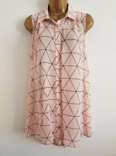 NEW Plus Size16-32 Triangle Print Chiffon Navy White Sleeveless Tunic Top Blouse