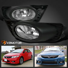 For 2009-2011 Honda Civic 4dr Sedan Clear JDM Driving Fog Lights+Switch Set