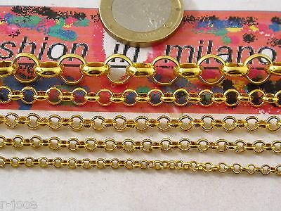 Jewelry & Watches 50 Cm Di Catena Rolo' Dorate Rimagliabile In 5 Misure A Scelta