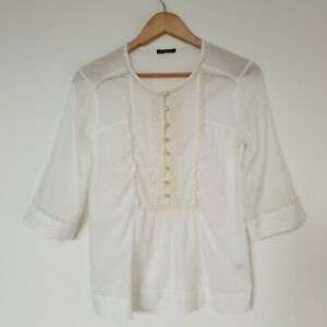 Massimo Dutti Women's Blouse Top Cream Lace Button Up 2/4 Sleeve Size 6/ XS