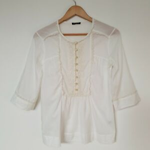 Massimo-Dutti-Women-039-s-Blouse-Top-Cream-Lace-Button-Up-2-4-Sleeve-Size-6-XS