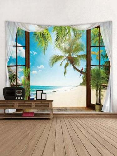 Impresión De Playa Mar Tapiz Colgante De Pared Decoración De Pared Arte Hogar Cuarto tapices