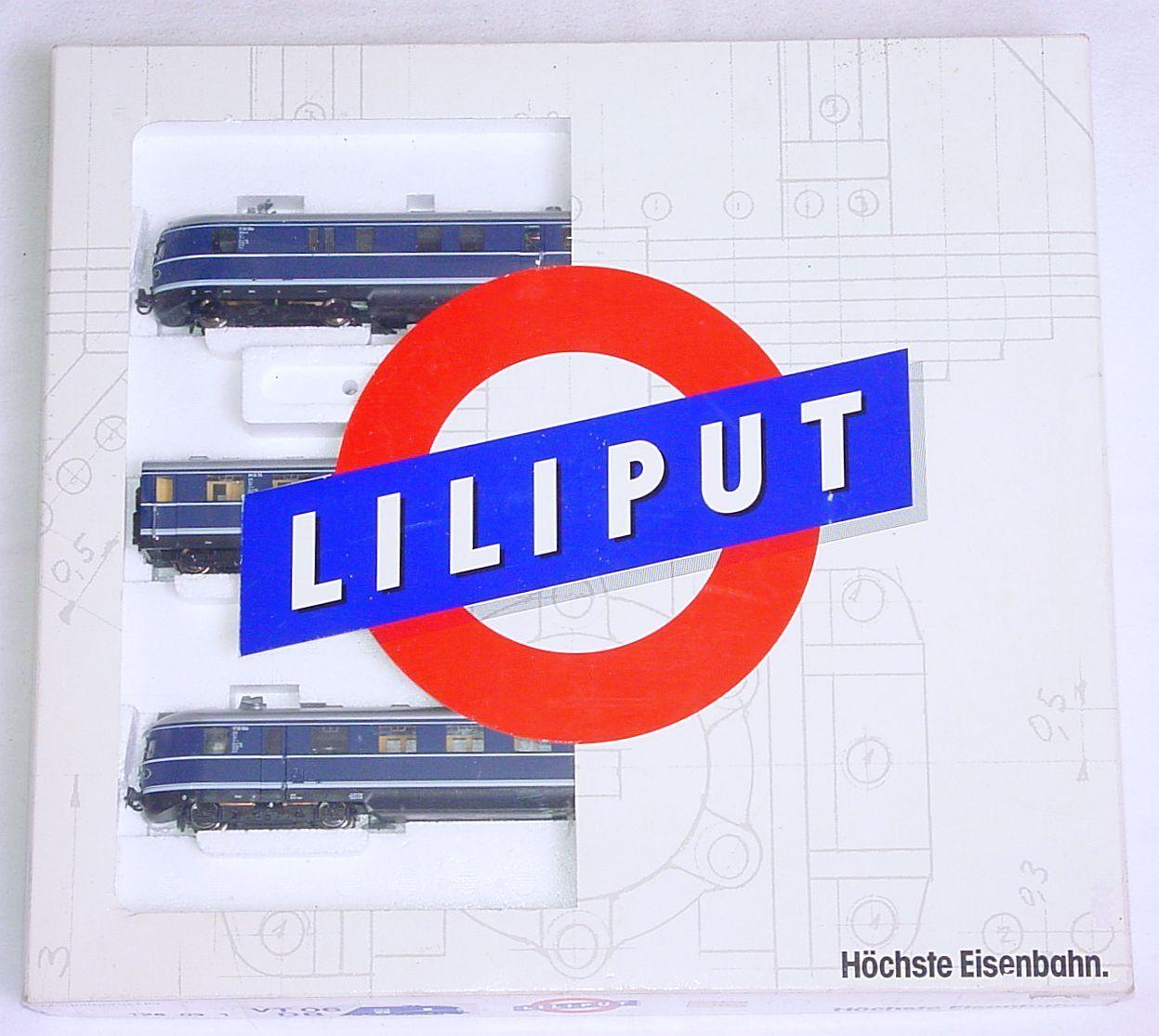 Liliput HO 1 87 VT 06 DEUTSCHE BUNDESBAHN 1958 DIESEL MULTIPLE UNIT SET MIB RARE