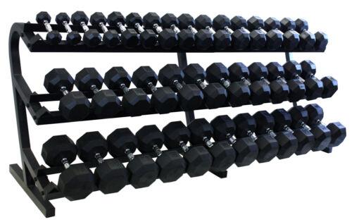 5 to 100 lb Set with Rack  NEW! Troy VTX Rubber Encased 8 sided Dumbbells