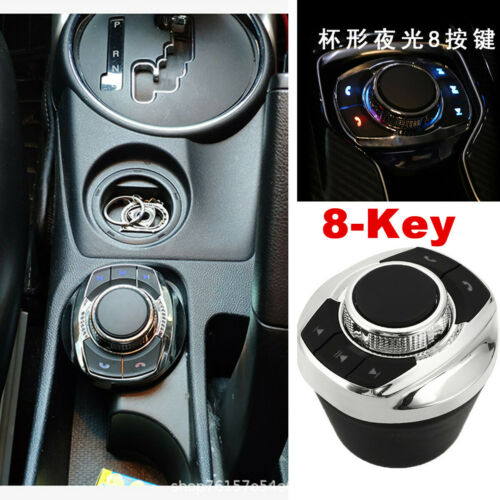 LED Cup Shape Wireless Car Steering Wheel Control Button Bluetooth Stereo GPS