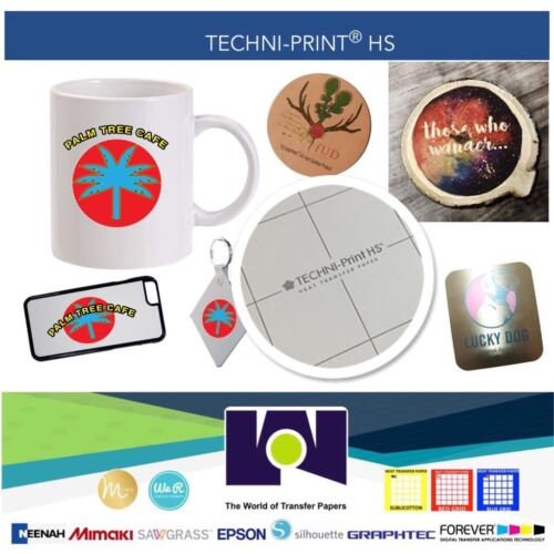 """TECHNI-PRINT HS Heat Transfer Paper For Hard Surfaces 10 sh 8.5x11/"""" Self Weeding"""