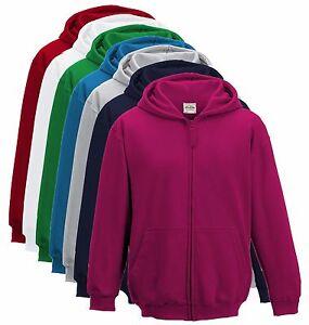 Enfants-Garcon-FILLES-fermeture-eclair-a-capuche-sweat-blouson-veste