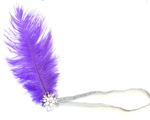 Purple silver autruche Plume tambour headpiece 1920 vintage bandeau Pearl M63