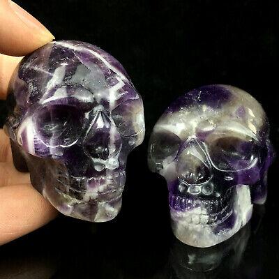 "4/"" Natural Crystal Goddess Totem Crystal Palm Stone Quartz Carved Skull Healing"