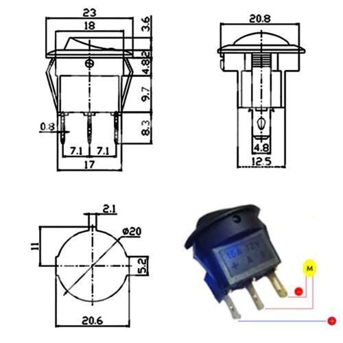 S074-5 Stück Schalter Wippenschalter EIN//AUS beleuchtet gelb 12V bis 16V LED