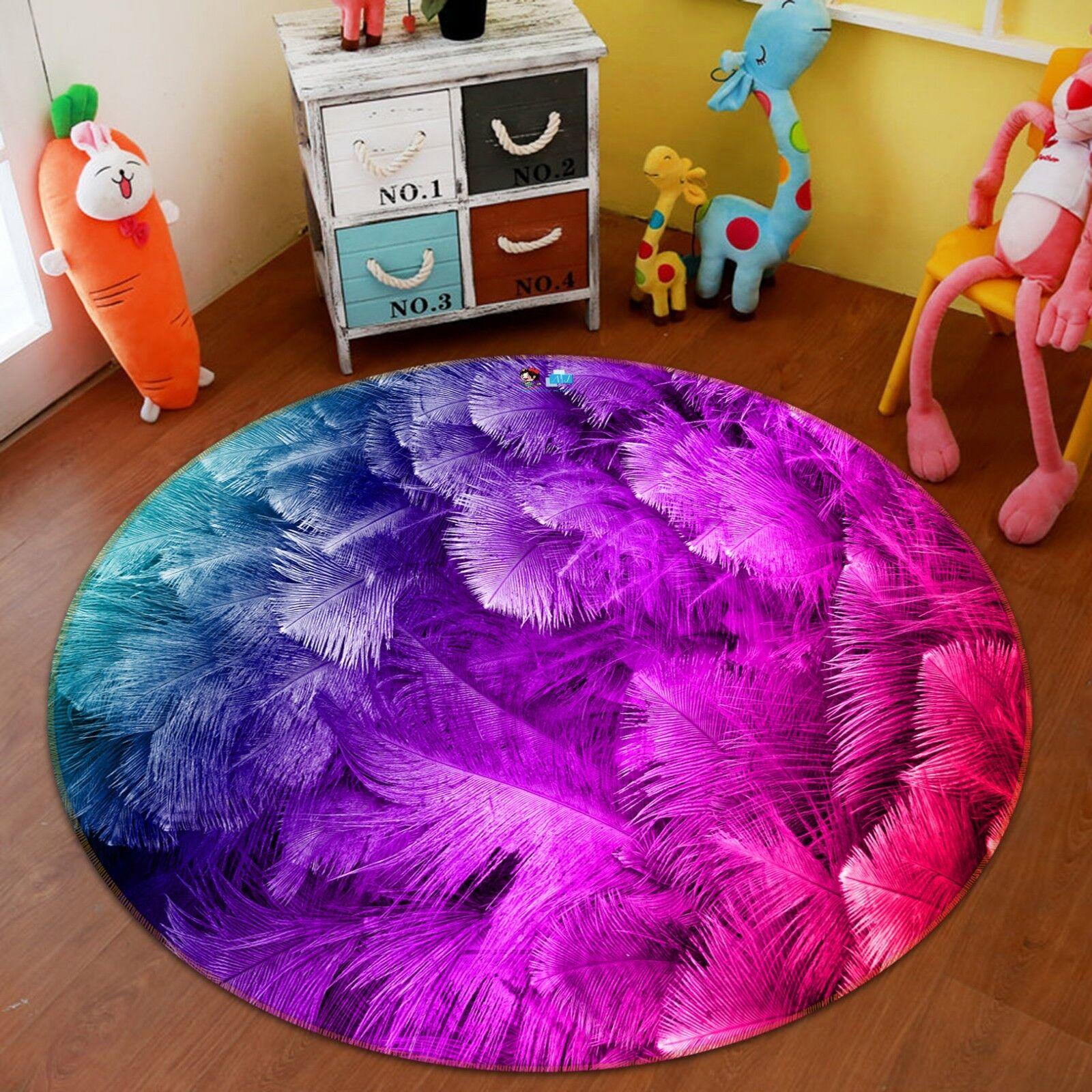 3D Verfärbung Feder 2 2 2 Rutschfest Teppich Matte Raum Matte Runden Elegant Teppich c17001
