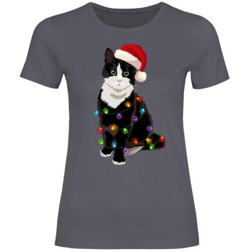 Katze Weihnachtsbaum Lichterkette Weihnachten Damen T-Shirt