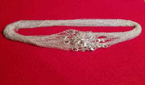 """925 Sterling Silver Stamp Link Chain Necklace 1mm 18/"""" w//lobster clasp Stunning"""