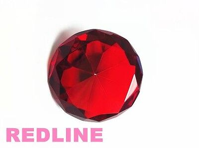 Ruby Decorative Round Crystal Diamond Shaped Paperweight- 4''