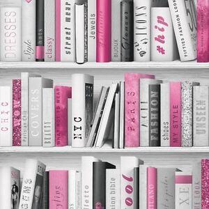 ROSA-MODA-Estante-Para-Libros-de-Biblioteca-Papel-pintado-Rollos-Muriva-139501