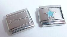 LIGHT BLUE STAR 9mm Italian Charm + 1x Genuine Nomination Classic Bracelet Link