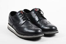MENS Prada Sport Black Gray White Leather Platform Brogue Oxford Sneakers SZ 10