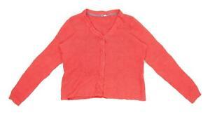 White-Stuff-Womens-Size-16-Textured-Linen-Blend-Red-Cardigan-Regular
