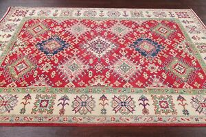 New Super Kazak Geometric Oriental Area Rug Wool Hand-Knotted RED Carpet 6' x 8'
