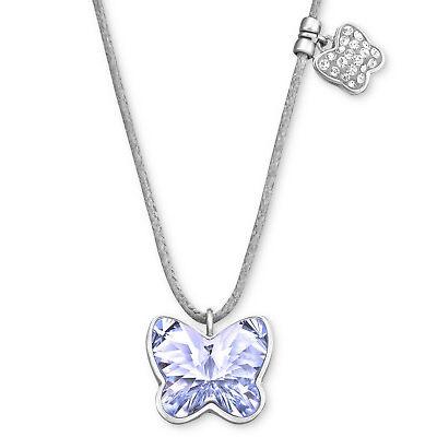 Swarovski Butterfly Mini Provence Lavender Crystal Grey Cord Ladies Necklace