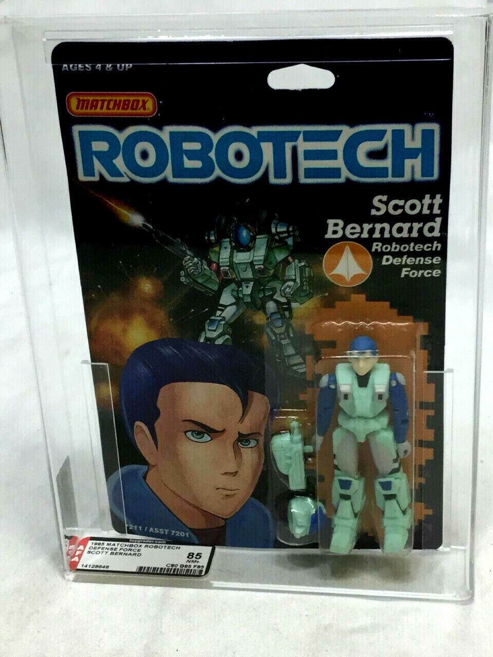 1986 Vintage Matchbox Robotech Scott Bernard Figure MOC Sealed AFA 85 Mint