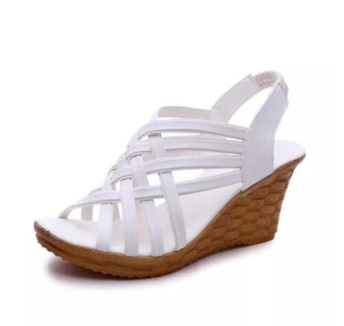 Damen Geflochten Keilabsatz Sandalen Pumps High Heels