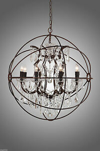 New rustic iron crystal orb chandelier pendant lamp foucaults globe image is loading new rustic iron crystal orb chandelier pendant lamp aloadofball Gallery