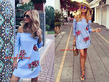 ZARA NEW BLUE OFF THE SHOULDER FLORAL EMBROIDERED TUNIC DRESS SIZE L