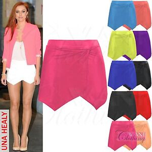 NEW-WOMENS-WRAP-OVER-ASYMMETRIC-HEM-SKIRT-LADIES-MINI-STRETCH-WAIST-SHORT