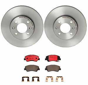 2013 For Hyundai Accent Front Disc Brake Rotors and Ceramic Brake Pads