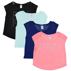 Victoria-039-s-Secret-Pink-T-Shirt-Cropped-Tee-Crop-Top-Graphic-Logo-Casual-New-Nwt