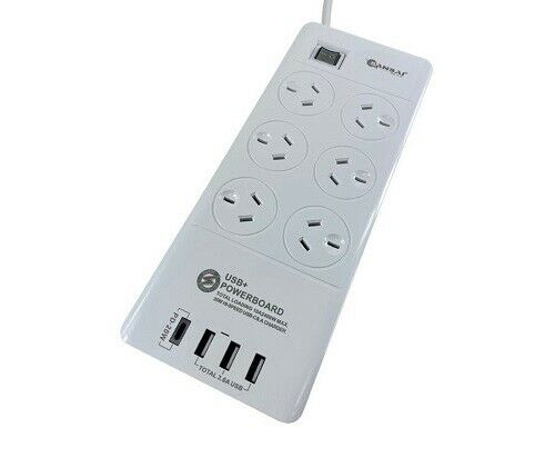6 Outlet USB Power Board with 3 x USB & 1 USB-C Charging Ports