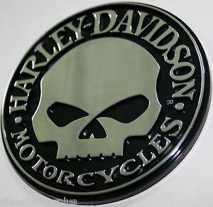 Willie G Harley Davidson Skull Bike 3d Emblem Tag Chrome