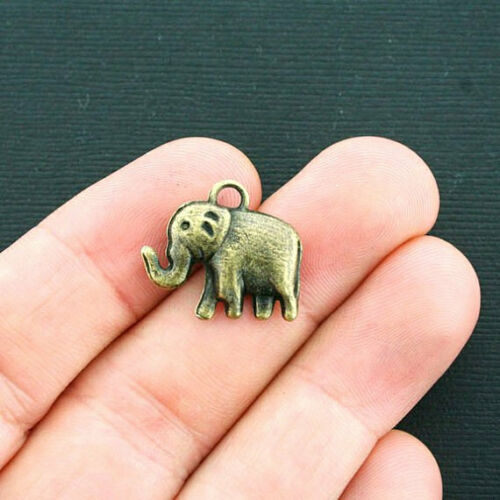 BC1134 8 Elephant Charms Antique Bronze Tone 2 Sided