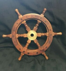 Ship-039-s-Wheel-32cm-Solid-Wood-amp-Brass-Nauticalia-London