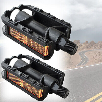 """Pair 9//16/"""" Pedals Mountain Bike Hybrid Racing Sports Bicycle Reflectors Black"""