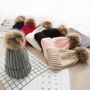 HO-Large-Ball-Womens-Beanie-Hat-Pom-Pom-Winter-Warm-Knitted-Stretch-Ski-Cap-Wel