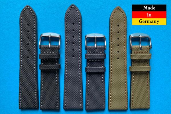!! Neuheit !! Nautilus Uhrband Schwarz Oliv Und Grau 20, 22 Mm Aus Deutschland Hohe Belastbarkeit