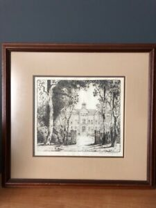 Charles-W-Dahlgreen-pencil-signed-etching-of-North-Park-College-Chicago-Illinois