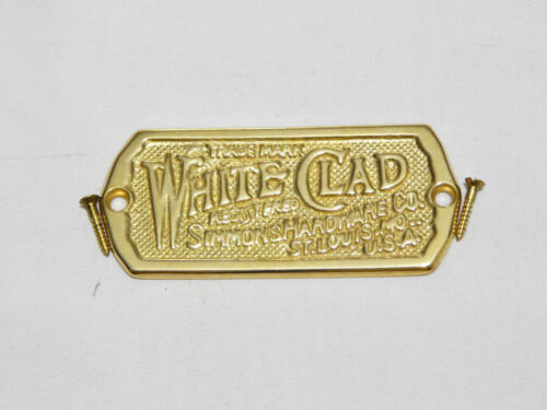 Ice Box Label White Clad Solid Brass
