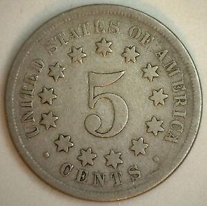 1868-ESCUDO-Niquel-VERY-GOOD-Autentico-ESTADOS-UNIDOS-Tipo-Moneda-5-CENTAVOS-VG